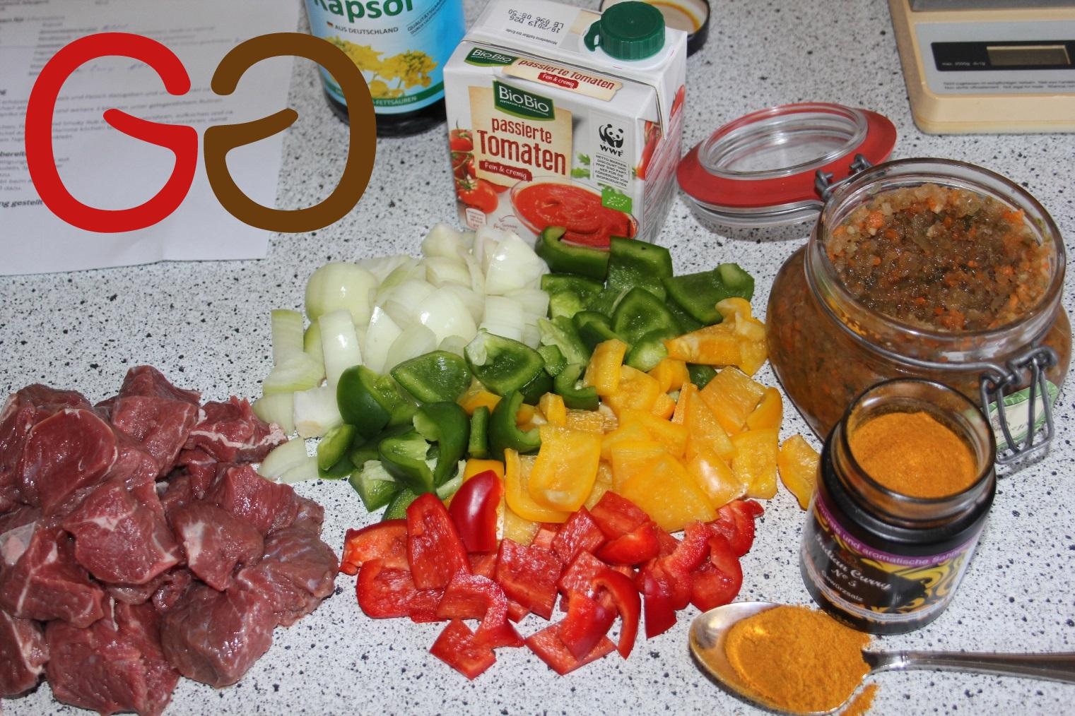 Curry-Gulasch vom Rind